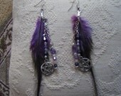 SALE/ Purple Feather Earrings w/ Swarovski Crystals and Pentacle Charm