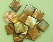 PRICE DROP - Mother of Pearl brown flat square beads SP142