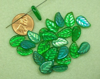 LAST BAG - Press Glass green transparent AB large flat leaf drop beads PG393
