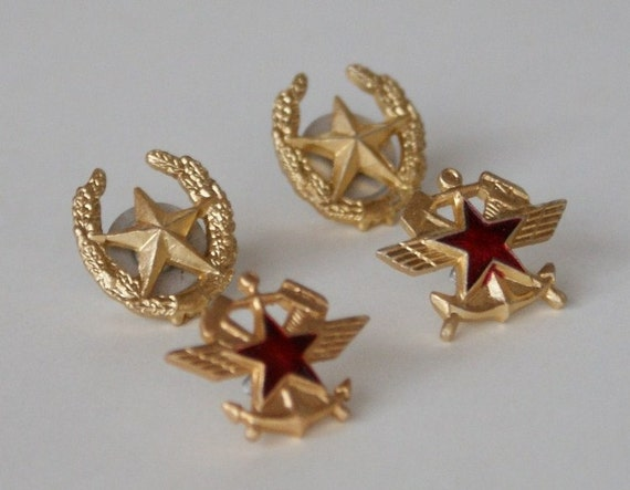 SALE /// Red Army Military Badges - 4 Uniform Pins - Craft Supply - Vintage Suit Making Supplies - Red Star