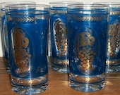 RESERVED for Kim REGENCY MOD 6 Royal Blue Glasses with Gold Grapes Pattern