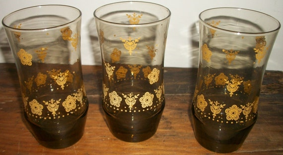 Set of 3 Smoked Water Glasses with Butterfly Gold Pattern