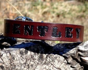 Custom Leather Dog Collar Stamped - Embossed - with Riveted Brass Information Tag