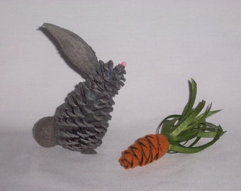 Pine Cone Easter Bunny Gray Small Flocked