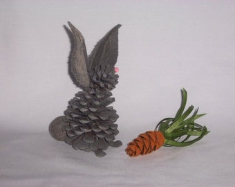Pine Cone Easter Bunny Gray Large Flocked