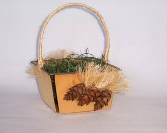 Wooden Easter Basket with Mini Carrot Cones