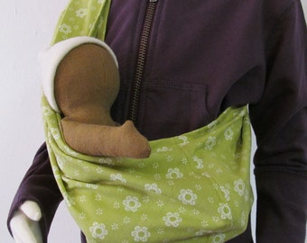 Hand made child size sling for carrying baby dolls, doll carry accessory organic cotton option