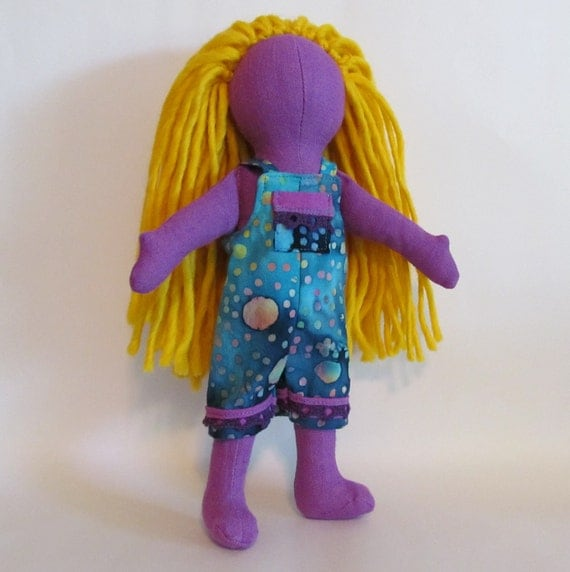 "SALE 11"" Eco-friendly purple doll with blond wool hair"