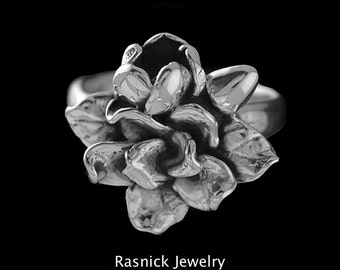 Sterling Silver Gardenia Ring, Hand Made by David Rasnick