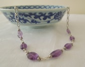 Adjustable Necklace: Lilac Purple Amethysts, Hill Tribe Silver, and Sterling Silver Chain