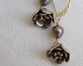 Silver Flower Dangle Earrings Hill Tribe Silver with Gray Pearl
