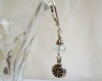 Aquamarine Hill Tribe Silver Earrings, Flower Pendants