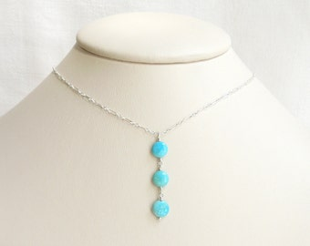 Sleeping Beauty Turquoise Pendant Necklace- Turquoise Beads Sterling Silver Chain