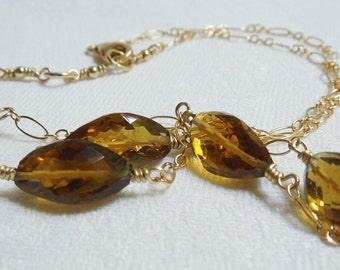 Golden Moments Necklace: Faceted Cognac Quartz, 14K GF Chain