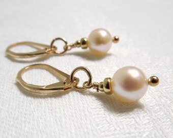 Pearl Dangle Earrings- Gold and Freshwater Pearls