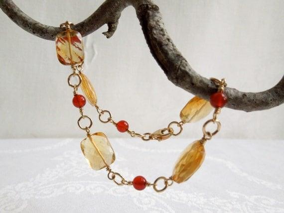 Citrine and Carnelian Bracelet Gold Filled Findings: November Birthstone