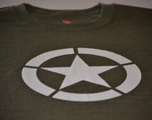 D-Day Military T-shirt Allied Star Olive Tee Shirt Drab WW2 WWII United States Army Marines Tshirt American Forces New Husband Mens Gift