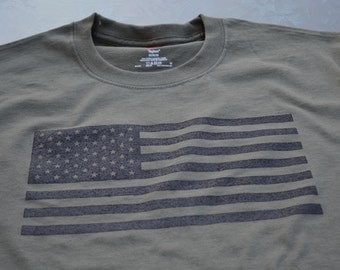USA flag T-shirt military tactical olive drab tshirt United States Of America Muted Screen Print Freedom Army Marines Gift