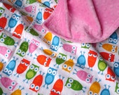 Owls Baby Blanket in Urban Zoologie Fabric by Ann Kelle with Hot Pink Minky Back
