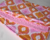 "Baby Girl Blanket -  Bohemian Ikat Diamond Pink by Annette Tatum with Hot Pink Minky Dot Back - 30"" x 34"""