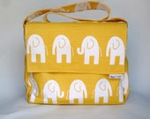 """Diaper Bag - Boy or Girl - """"Elephant Parade"""" in yellow - Large Messenger Bag with Inner and Outer Pockets"""