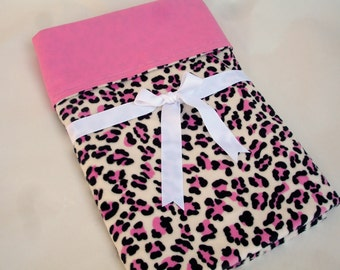 "Baby Girl Blanket in Leopard Print Cuddle Minky with Kona Candy Pink designer cotton - 30"" x 35"""