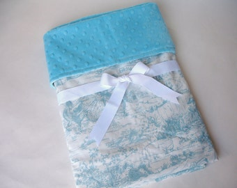 "Boy or Girl Baby Blanket in Toile Tiny Treasures print with Turquoise Minky Dot Back - 30"" x 34"""