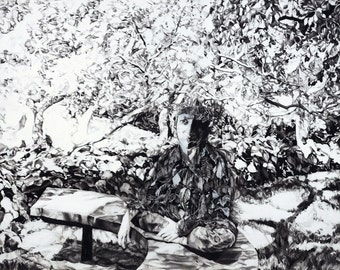 "Giclee Art Print - ""Pan"" - 24 X 30 Deckled Edge"