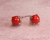 Reserved for Joy - Coral (Scarlet), 5mm x 0.42 Carat, Cabochon Cut, Sterling Silver Post Earrings