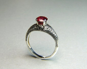 Ruby (6.8mm Natural Ruby), 6.8mm x 1.84 Carats Round Cut, Sterling Silver Ring