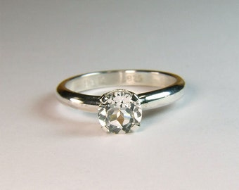 Flawless White Topaz, Round Cut, 7mm x 1.5 carat, Sterling Silver Ring