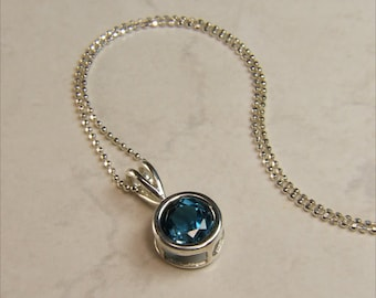 """London Blue Topaz, 8mm x 2.35 Carat, Round Cut, Sterling Silver Pendant Necklace, including 18"""" to 20"""" (adjustable) Sterling Chain"""