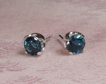 London Blue Topaz, 6mm Round Cut, Sterling Silver Stud Earrings