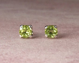 Bright Lime Green Peridot, 4mm Round Cut, Sterling Silver Stud Earrings