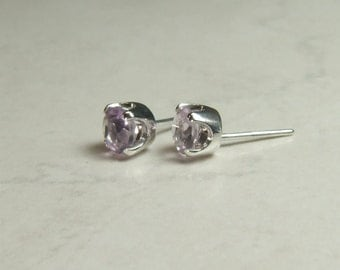 Rare 'Rose de France' Amethyst, 5mm Round Cut, Sterling Silver Post Earrings