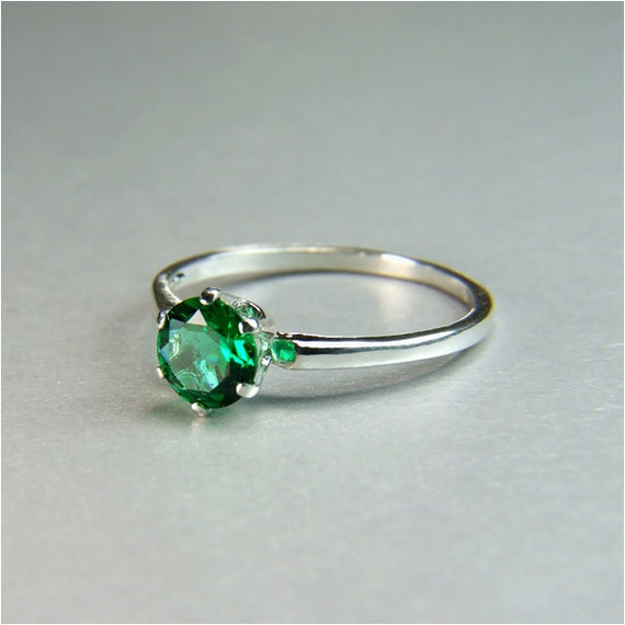 Rainforest Green Topaz, Round Cut, 1.15 carats, Sterling Silver Ring