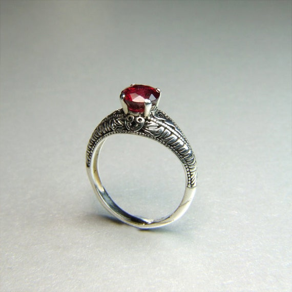 Mozambiquan Ruby Ring, Genuine African Ruby, 6.8mm x 1.84 Carats Round Cut, Sterling Silver Ring