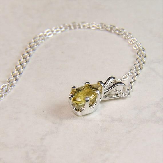 Emerald (Lemon Emerald or 'Heliodor'), 8mm x 5mm x 0.70 Carat, Sterling Silver Pendant Necklace