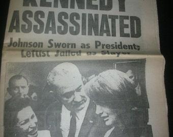1963 NY Daily News President John F Kennedy Assassination Newspaper JFK