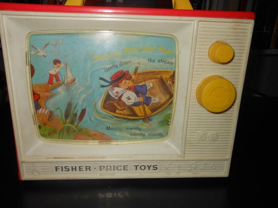 1966 fisher price two tone giant screen Music Box tv vintage toy