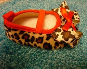 Brown and Red Leopard Print Baby Shoes Size  9 to 12 months