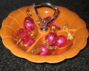 Vintage Mid Century Pottery Divided Serving / Relish Bowl in Perfect Pumpkin Color from the 1950's