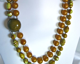 Fantastic Two Tone Gold Green 2 Strand Vintage Necklace from the 1950's