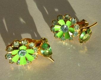 Fabulous Flower Rhinestone Earrings with Green Enamel Petals and Blue Stone in Goldtone
