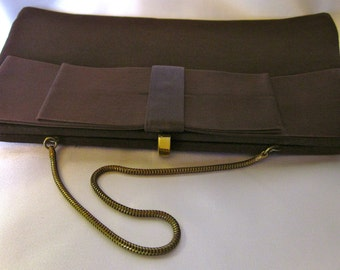 Classy Vintage Dark Brown Faille Clutch Purse with Antiqued Gold Snake Chain from the 1950's