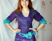 Merino wool dress felted on natural silk and flower decor