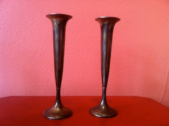 Pair of Vintage Silver Trumpet Bud Vases or Candle Holders