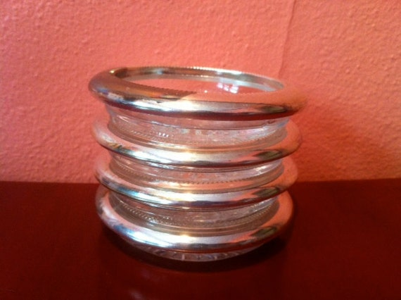 Set of 4 Vintage Glass Coasters (with Silverplated Rim), Keonana Silverplate Italy
