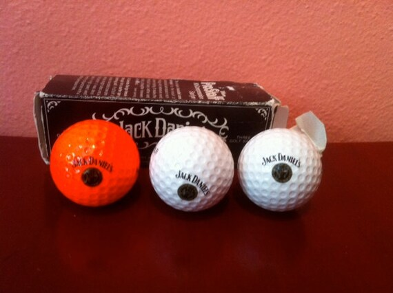 "Vintage Jack Daniel's Golf Ball Sleeve, 3 ProStaff Golf Balls Marked Jack Daniel""s"