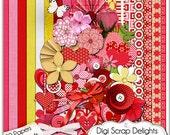 Adom Varod Valentine Digital Scrapbook Kit (Red, Pink, Gold) for Digital Scrapbooking, Card making, Invites, Web Design,  Instant Download